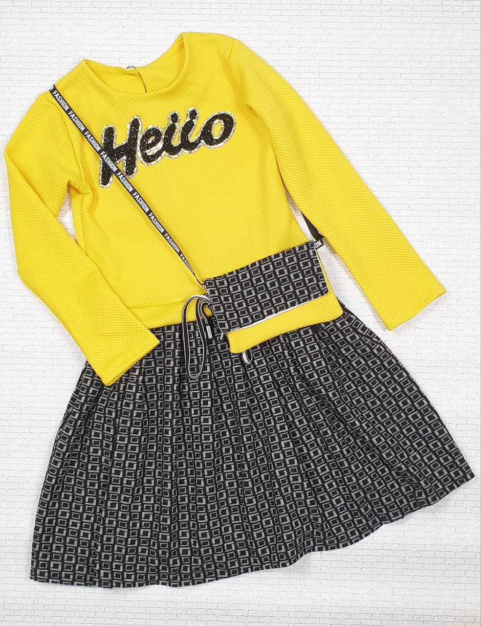 Платье для девочки с сумочкой 116-128 желтый+серый