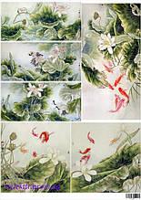 """Декупажна карта """"Екзотичні рибки та квіти"""""""