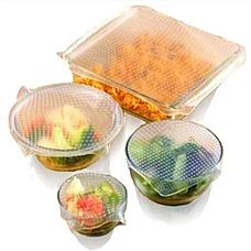 Набор универсальных крышек для хранения продуктов Stretch and Fresh, силиконовые пленки-крышки, фото 3