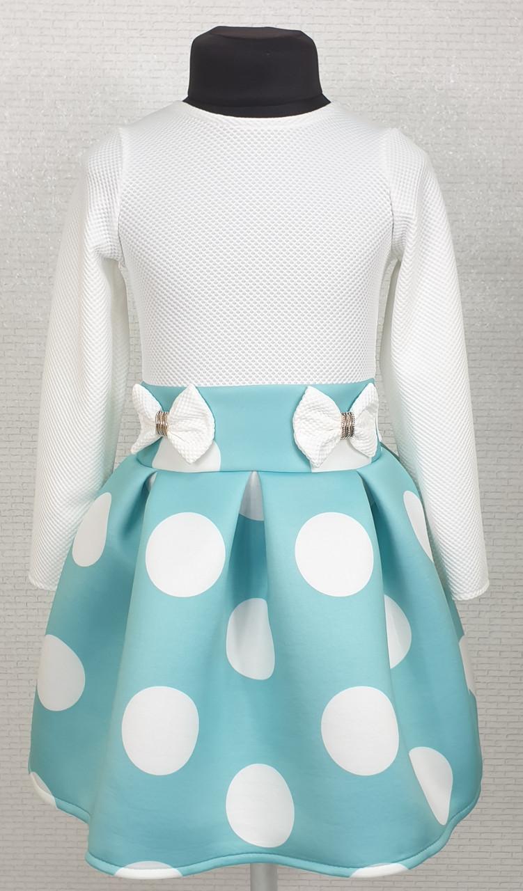 Платье для  девочки Велина 104-116 мята+белый