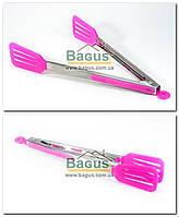 Щипцы кухонные с прямым пластиковым ухватом (просиликоненные ручки) РОЗОВЫЙ Empire (EM-7085-2)