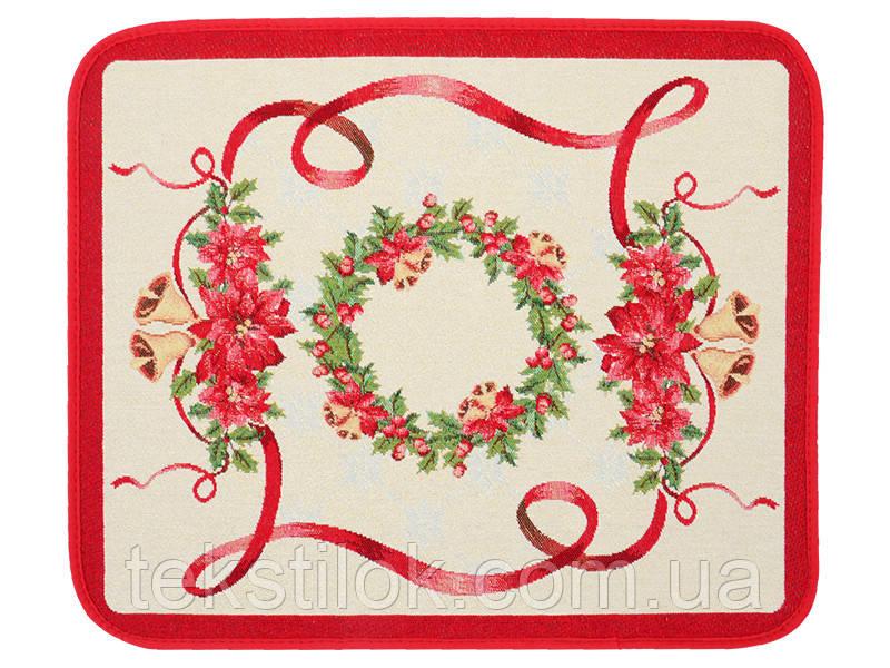 Новогодняя салфетка гобеленовая с люрексом  35*45