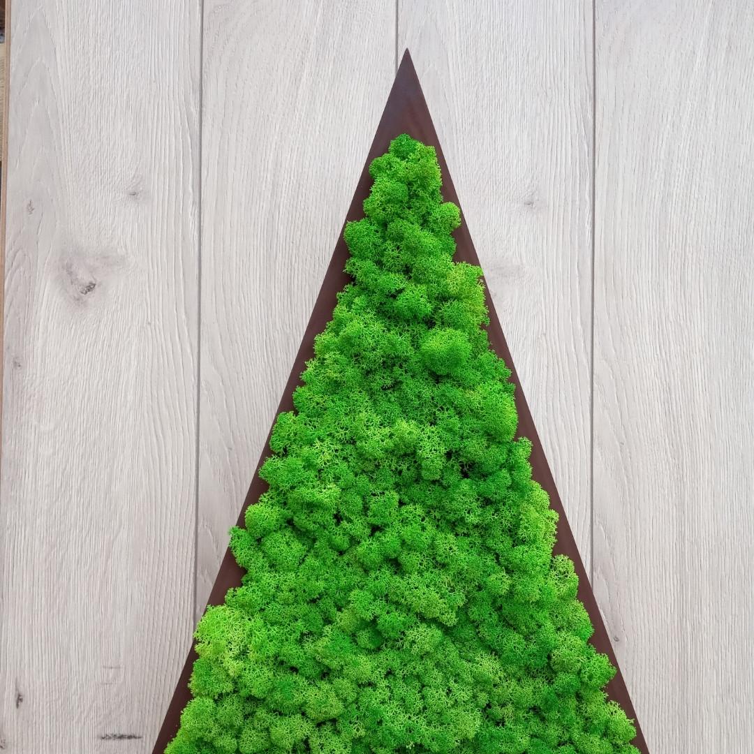 Ялинка трикутна з мохом, трикутник з мохом для новорічного декору 55 см