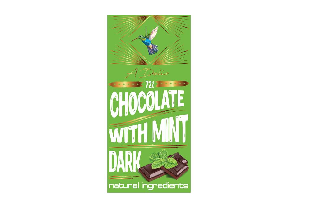 Шоколад темний 73% з м'ятою