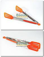 Щипці кухонні з прямим пластиковим рогачем (просиликоненные ручки) ПОМАРАНЧЕВИЙ Empire (EM-7085-3), фото 1