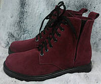 Ботинки зимние на низком каблучке из натуральной замши от производителя модель ОУ94101-2, фото 1
