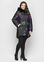 Женская зимняя удлиненная куртка Мариза принт цветок