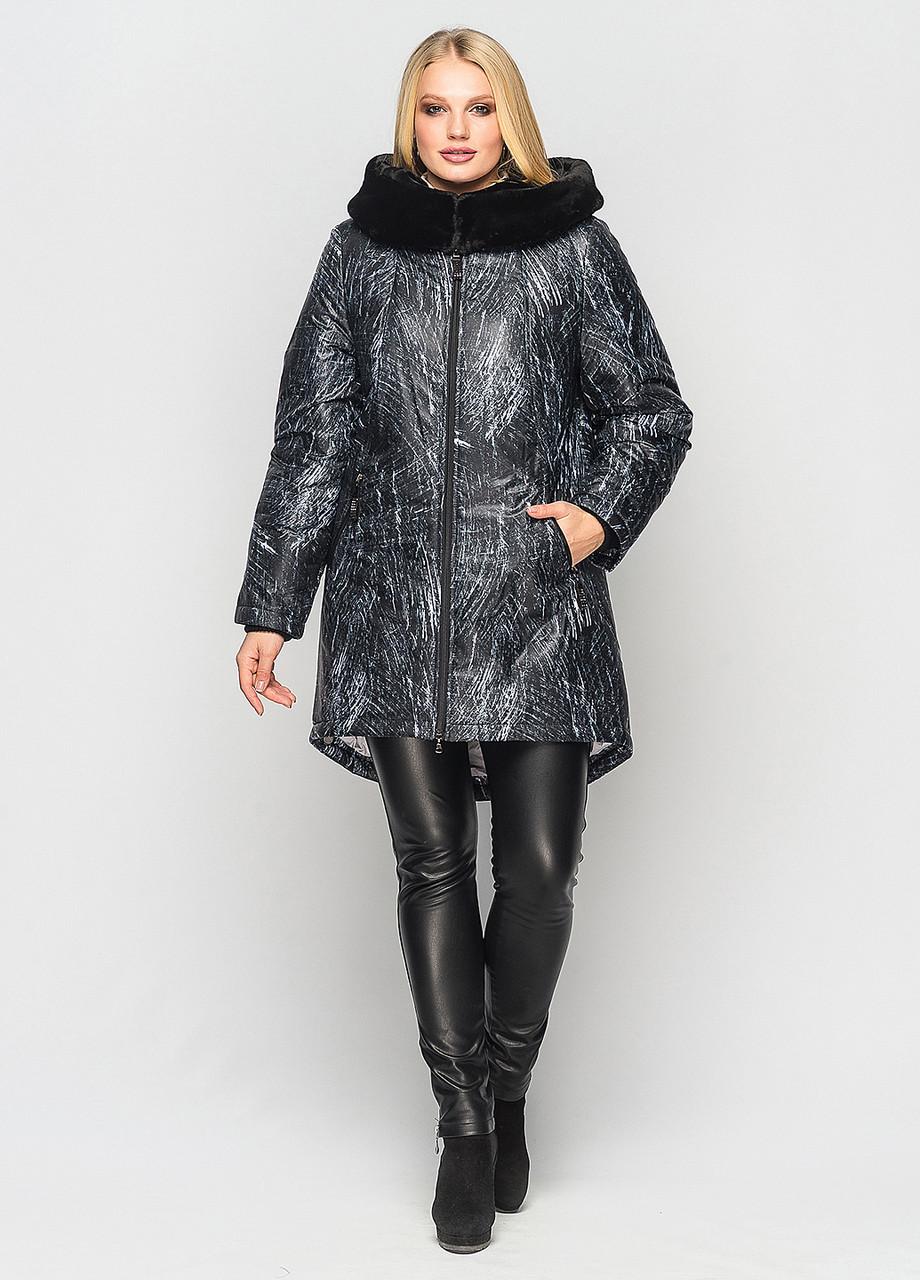 Женская зимняя удлиненная куртка Мариза принт дождь