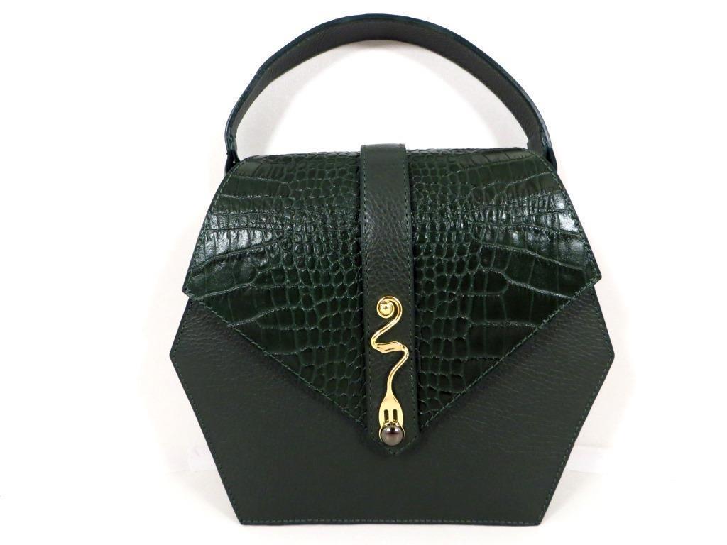 Жіноча сумочка  . Італія 100% натуральна шкіра . Зелена