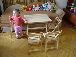 Детский деревянный складной столик и детские раскладные стульчики (массив Бука)