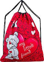 Мешок для сменной обуви для девочки красный с Мишкой Winner M-19