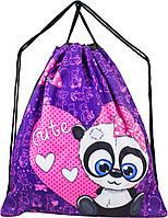 Мешок для сменной обуви для девочки фиолетовый с Пандой Winner M-20