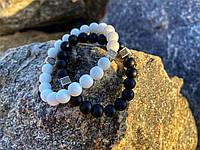 Парные браслеты из камней Матовый белый агат и матовый шунгит