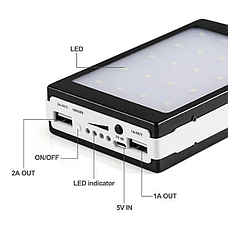 Универсальная батарея Solar PowerBank + Led 50000 mAh Black, портативное зарядное устройство, фото 2