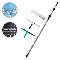 Швабра для окон с телескопическим кием 6м, стальным сгоном для воды 35см, пластиковым держателем и шубкой 35см
