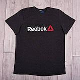 Чоловіча спортивна футболка Reebok великого розміру, темно-сірого кольору, фото 4