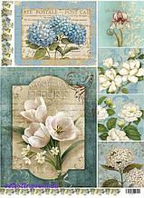 """Декупажна карта """"Квіти на блакитному тлі"""""""