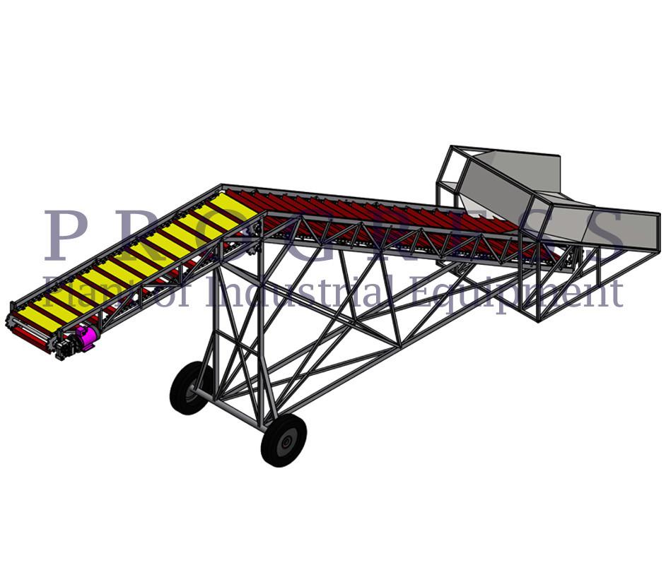 Скребковый транспортер для погрузки птичьего помета в автомашину