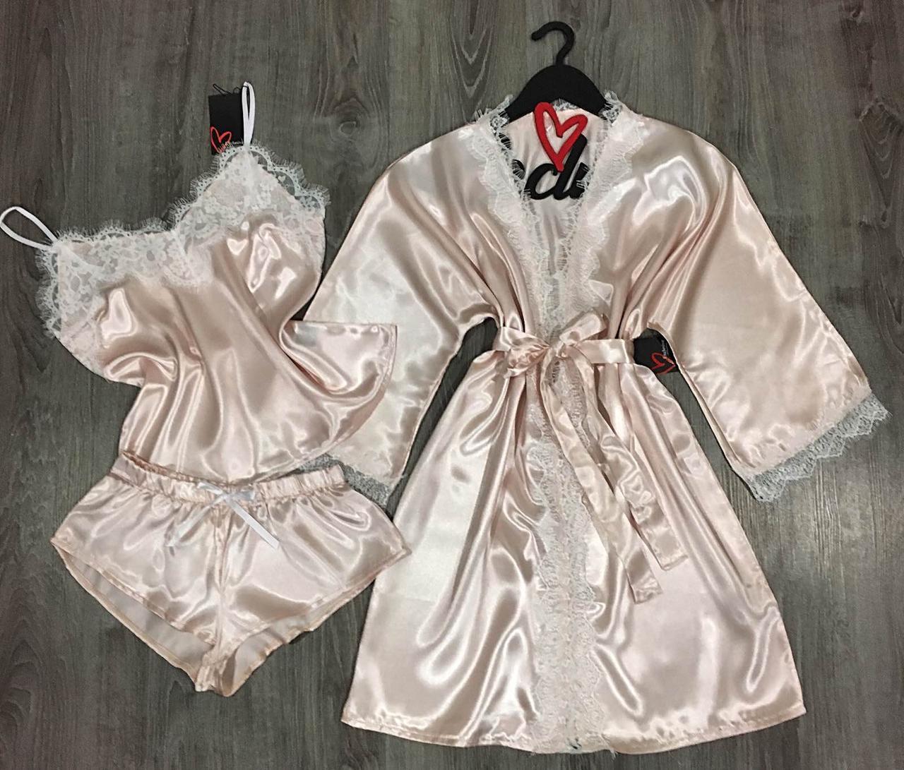 Атласный комплект халат и пижама, домашняя одежда.