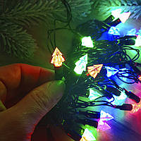 Гирлянда светодиодная - Елки прозрачный пластик RGB, 3 метра, 28 лампочек, от сети, 1 шт