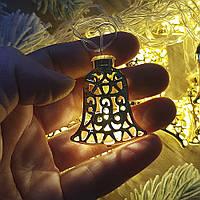 Гирлянда светодиодная - Колокольчики металл золото, теплый свет, 3 метра, 20 лампочек, от сети, 1 шт