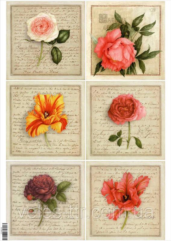 """Декупажна карта """"Троянди і тюльпани"""""""