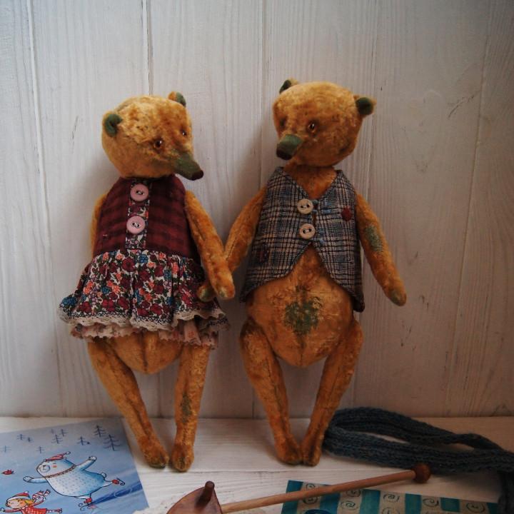 Медведь в стиле Тедди из винтажного плюша