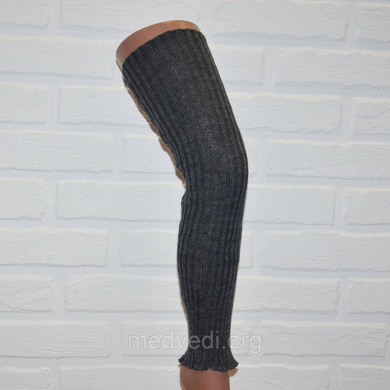 Темно-серые женские гетры 58 см с резинкой