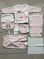 Подарочный набор для новорожденных  7 единиц зайчик розовый, фото 1