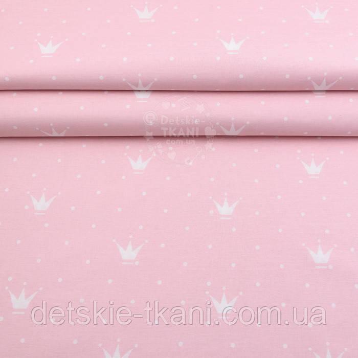 "Лоскут поплина ""Короны и точки"" белые на розовом фоне (№-2409), размер 39*119"