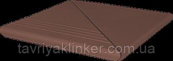 Клинкерная ступень King Klinker (03)  Венецианская комплект угловой гладкая/рифленая 330х330х14