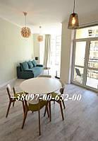 Кухонный Комплект Стол круглый + 4 Стула Модерн Белый с Буком + Зеленая сидушка, фото 1