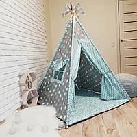 """Вигвам, детская палатка KatyPuf """"Бирюзовые пряник"""" + коврик стеганный."""