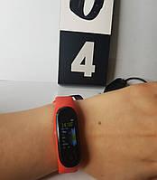 Фитнес браслет М 4 Фитнес трекер цветной экран ( красный браслет)
