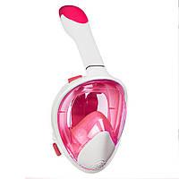 Полнолицевая маска для плавания, для снорклинга Aolais S/M бело-розовая