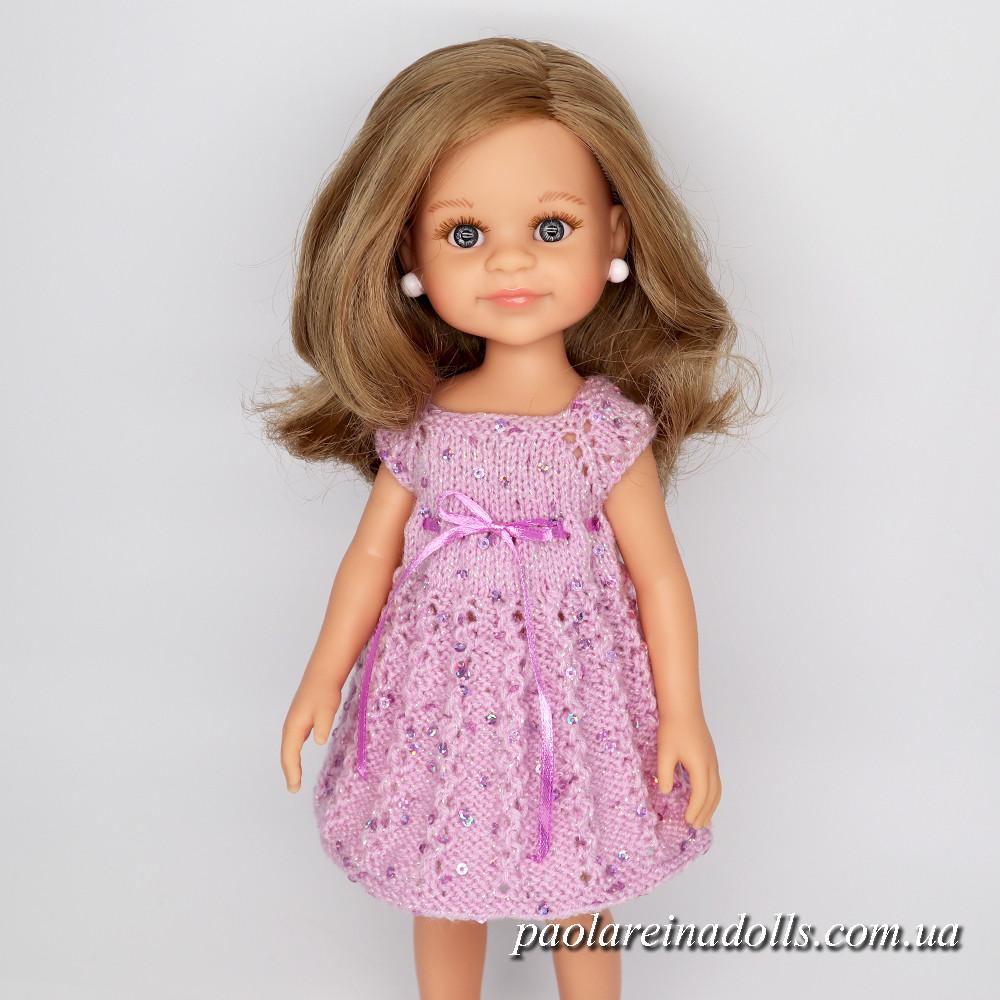 Платье с паетками сиреневое для кукол Паола Рейна