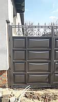 Распашные ворота со встроенной калиткой ш3000, в2500 (дизайн шоколадка, филенка линза), фото 3