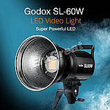 Постоянный свет Godox SL60W + фильтры  5600K 60W CRI 95 + Bowens крепление  светодиодный видео свет, фото 2