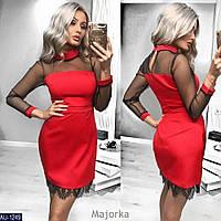 """Яркое женское платье с кружевом ткань """"Костюмная"""" 44 размер батал"""