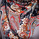 Река любви 1773-2, павлопосадский платок шерстяной (двуниточная шерсть) с шелковой вязаной бахромой, фото 6