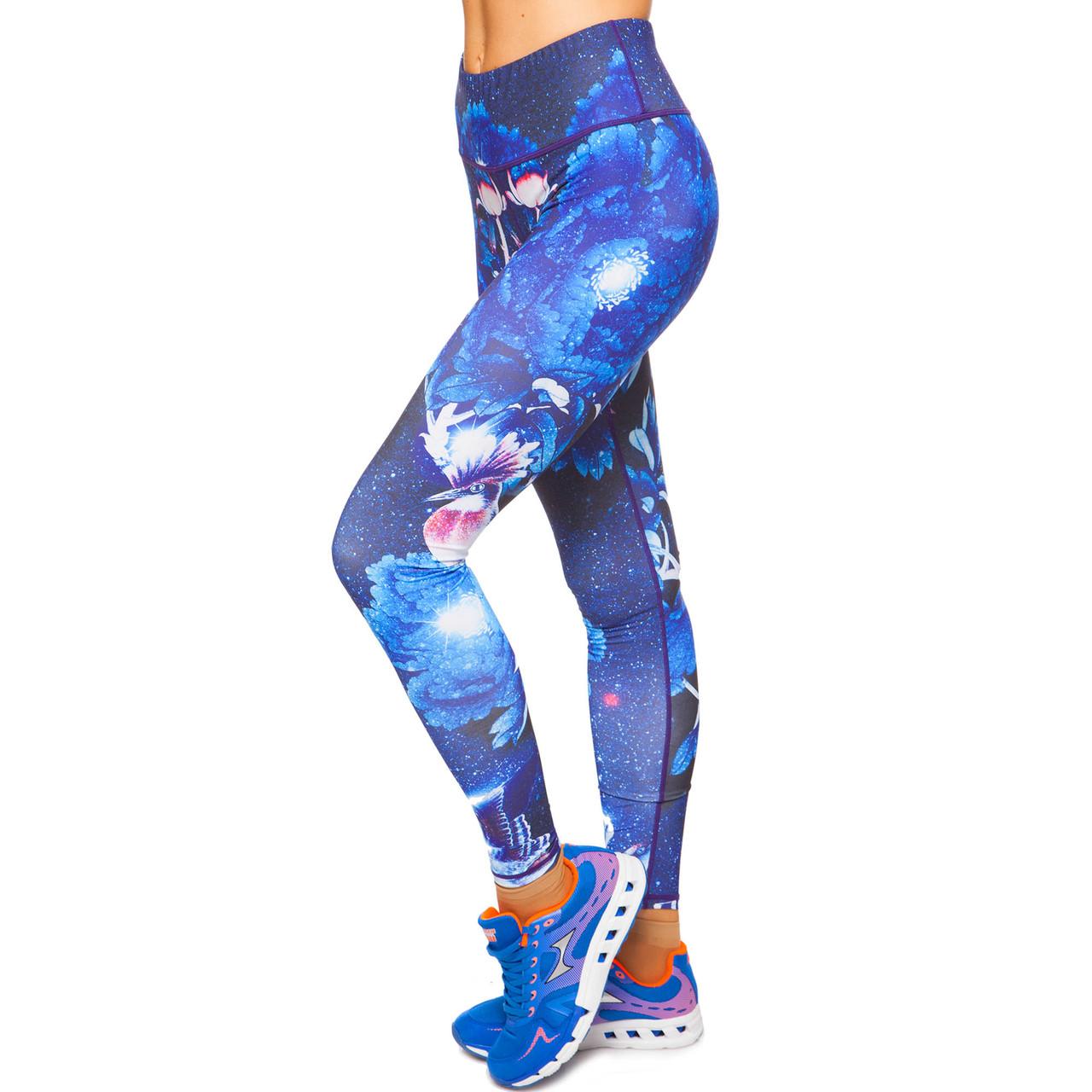 Лосины для фитнеса и йоги с принтом Domino YH60 размер S-L рост 150-180, вес 40-60кг темно-синий-голубой