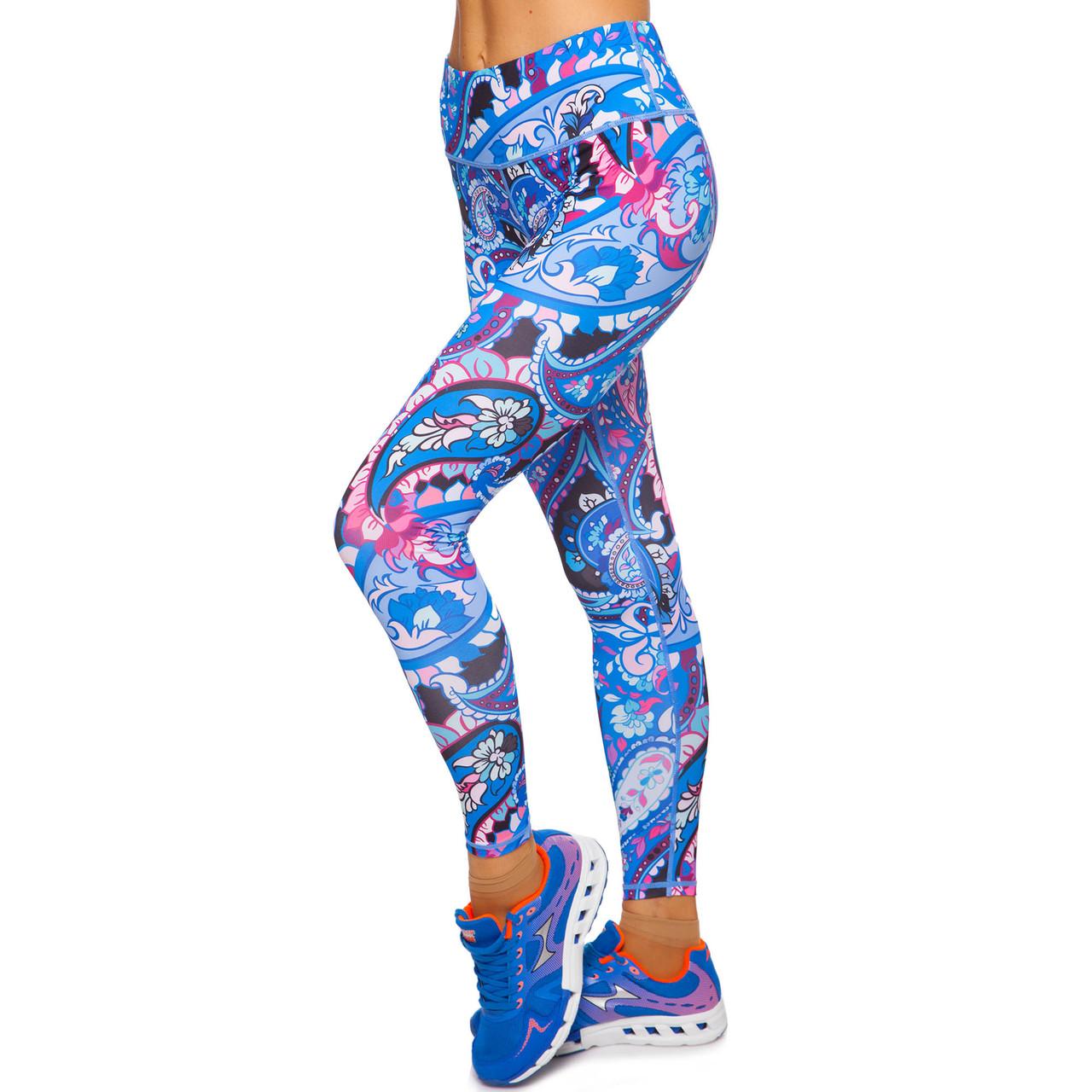 Лосины для фитнеса и йоги с принтом Domino YH81 размер S-L рост 150-180, вес 40-60кг синий-розовый