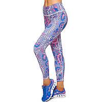 Лосины для фитнеса и йоги с принтом Domino YH83 размер S-L рост 150-180, вес 40-60кг синий-розовый