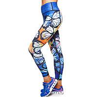 Лосины для фитнеса и йоги с принтом Lingo Бабочка HK24 размер S-XL-42-48 синий-оранжевый