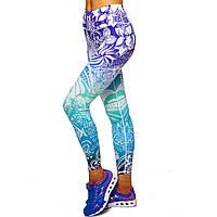 Лосины для фитнеса и йоги с принтом Lingo Лотос BK77 размер S-XL-42-50 фиолетовый-голубой