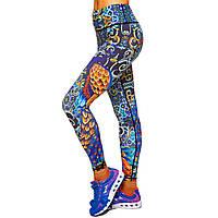 Лосины для фитнеса и йоги с принтом Lingo Павлин BK02 размер S-L-42-48 темно-синий-оранжевый