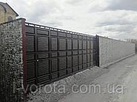 Сдвижные ворота с автоматикой и калиткой 5500 на 2200 (дизайн филенка, шоколадка с узким полем), фото 2