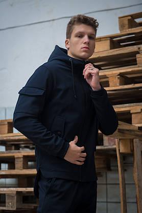 Мужской костюм синий демисезонный Intruder. Куртка мужская синяя, штаны утепленные + Ключница, фото 2