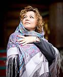 Драгоценная 1292-2, павлопосадский платок (шаль) из уплотненной шерсти с шелковой вязанной бахромой, фото 2
