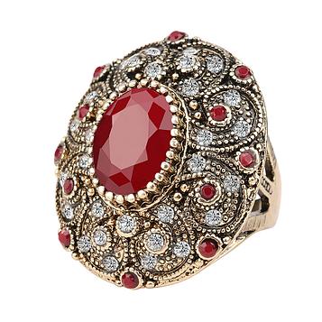 Масивне кільце жіноче з червоними кристалами код 320